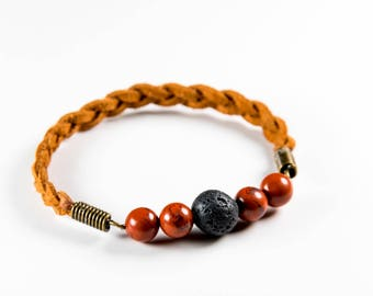 Red Jasper and Lava Stone Hand-braided Suede Essential Oil Diffuser Bracelet. Women's Bracelet. Essential Daily Drops Bracelet.