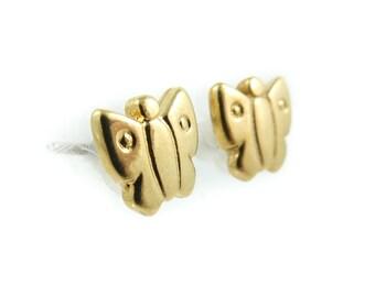 Vintage, Butterfly, Stud Earrings, Gold Tone, Posts