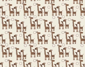 SALE Giraffe Crossing 2 - Giraffes Brown - Riley Blake Designs - Cream Animal - Quilting Cotton Fabric - choose your cut