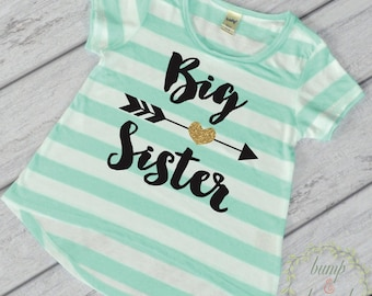 Big Sister Shirt Big Sister Little Sister Outfits Big Sister Gift Big Sister Announcement Shirt Green T-Shirt Big Sis Photo Prop 037