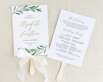 Greenery Wedding Programs Template, Printable Wedding Fan Program, Garden Rustic Theme | Editable in Word/Pages