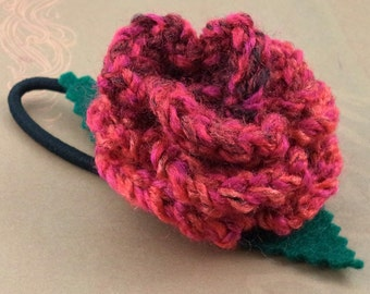 Crocheted Rose Ponytail Holder or Bracelet - Red Swirl (SWG-HP-ZZ06)