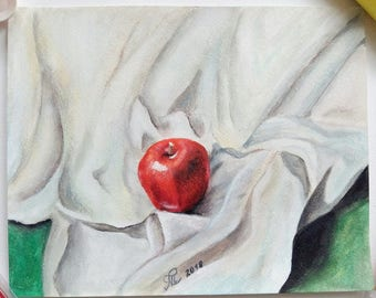 "Red apple on cloth, acrylic painting on watercolor paper 8""x10"""