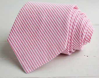 Necktie, Mens Necktie, Neckties For Men, Ties For Men, Groomsmen Gifts, Coral Neckties, Neck Tie, Ties - Coral Stripe Seersucker
