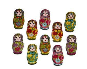 10 Pieces Matryoshka Wood Button. Russian Doll Wooden Button.