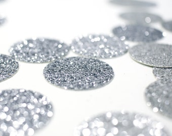 """Silver Glitter Circle Confetti - 1"""" Table Decor. Wedding. Bachelorette Party. Bridal Shower. Baby Shower. Engagement. First Birthday."""