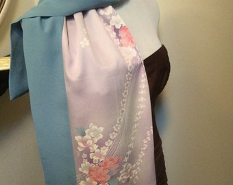Lavender Floral with Blue border vintage Japanese kimono Silk scarf
