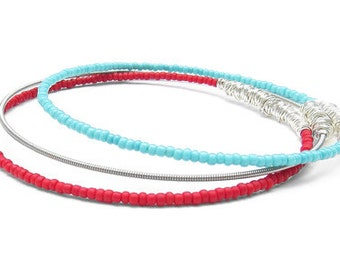 Bangle Bracelet Stack // Set of 3 Bracelets // Red & Turquoise Seed Bead Bracelets / Silver Guitar String Bracelet / Stacking Bangles / Gift