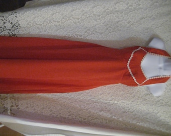 FABULOUS SUMMER GOWN - Deep Orange Aline with beautiful white trim - Sexy!