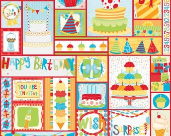 Fat Quarter Surprise Happy Birthday Quilting Fabric Riley Blake C3950 RED
