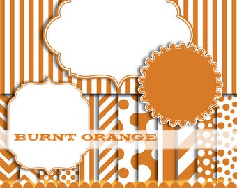 Stationery digital paper, scrapbooking orange polka dot, digital frame clip art, digital paper orange clipart  : p0176 3s0550 IP