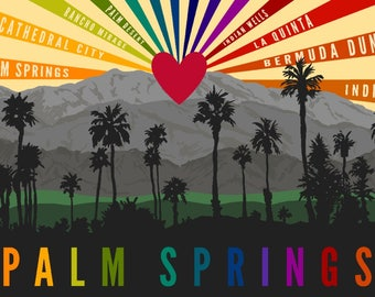 Palm Springs, California - Palm Trees & Mountains - Rainbow - Lantern Press Artwork (Art Print - Multiple Sizes Available)