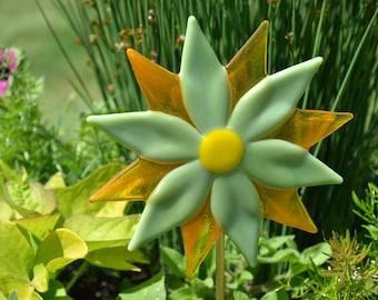 Fused Glass Flower Plant Stake, Gardeners Gift, Yard Art, Garden Art, Home Decor, New Home Gift, Glass Flower, Orange and Green