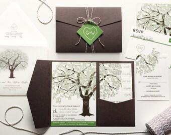 Oak Tree Wedding Invitations, Rustic Wedding Invitation Set, Summer Wedding Invites, Cheap Shower Pocketfold Suite Spring, RSVP