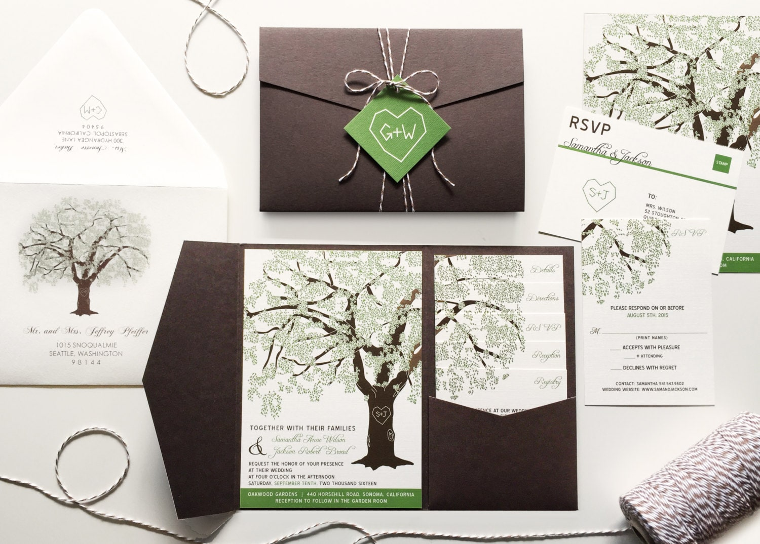 Oak Tree Wedding Invitations Rustic Wedding Invitation Set