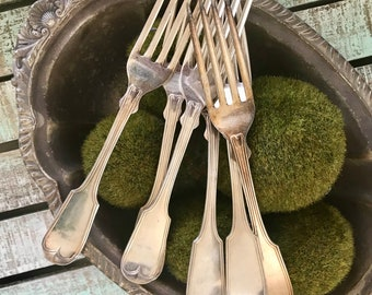 Reed and Barton Silverplated Forks Set of 6 Fiddle Threaded Pattern 1979 Utensil Flatware TYCAALAK