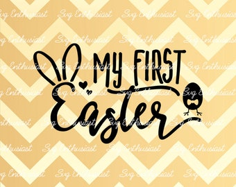 My first Easter SVG, Easter SVG, Bunny ears Svg, Baby rabbit Svg, Easter bunny Svg, Easter egg Svg,, eps, Dxf, Cut Files, Clip Art, Print,