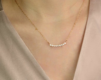 Diamond Curved Bar Necklace, Crystal Necklace, Sterling Silver, Gold, Rose Gold, Delicate Necklace, Layering, bridal necklace, bridesmaid