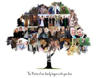 Family Tree, Family Sign, Gift for Mom, Custom Family Tree, Personalized Family Sign, Tree Collage, Family Photo Collage, Family Gift