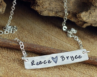 Personalized Silver Bar Necklace, Sterling Silver Rectangular Bar, Mother's Necklace, Hand Stamped Jewelry, Name Plate Necklace
