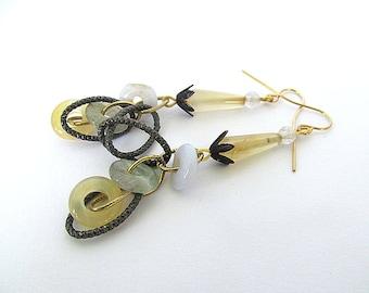 Agate Bead Earrings, Rustic Gemstone Earrings, Unique Beaded Earrings, Gemstone Drops, Gemstone Donuts, Gothic Earrings, Yellow Agate