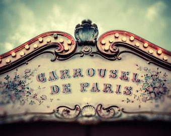 Paris carousel photograph carnival photography french home decor fine art photography nursery wall decor teal gold blue retro prints
