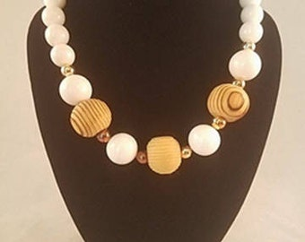 Estate Wood & White Plastic Bead Necklace