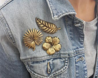Set of 3 Tropical brooches. Botanical leaf art, Golden leaves,Monstera leaf, Toucan, Palm leaf gift, Tropical, Flower