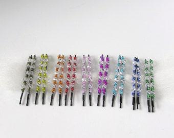 Wire wrapped genuine Swarovski crystal bobby pins