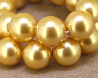 "14mm High Luster Gold South Seashell Pearl beads Round Shell Pearl Full One Strand 15.5"" in length"