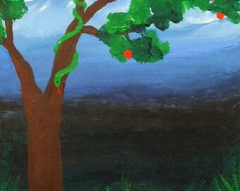 acrylic painting Serpent Tree original art Garden of Eden