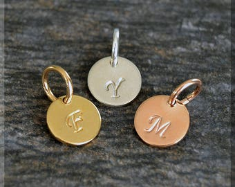 Add a Charm Initial Charm, Personalized Charm, Initial Pendant, Sterling Silver Initial charm, Gold Filled Initial Charm, Hand Stamped Charm