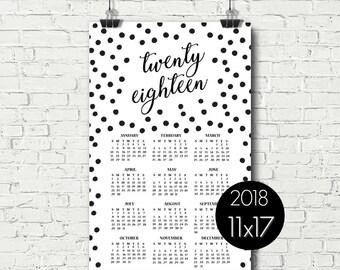 Printable Calendar 2018, Yearly Calendar Page, Minimalist Calendar, Black and White Wall Calendar, Calendar Poster, 11x17, Calendar Page
