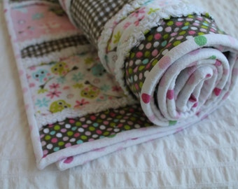 100% Cotton Flannel Rag Quilt with Owls