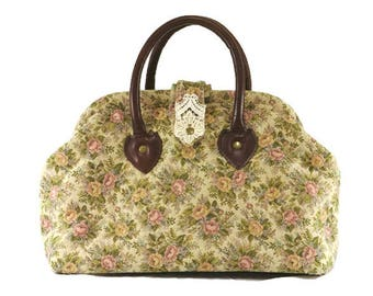 Victorian Style Floral Tapestry Handbag with Real Leather Handles / Ready to Ship