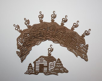 """Set Of 10 """"Cabin In the Woods"""" Die Cuts,Cabin,Paper Cuts,Embellishments,Scrapbooking,Card Making,Diecuts,Christmas"""