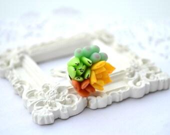 Succulent planter ring. Green orange succulent ring jewelry. Rustic botanic ring. Bridesmaid succulent ring. Clay succulent ring Cactus ring