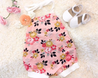 Pink Bubble Romper Halter Top Romper Floral Romper Baby Girl Summer Outfit Girls Sunsuit Toddler Romper Trendy Romper Baby Girl Clothes
