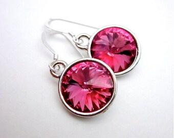Rose Pink Drop Earrings, Silver & Rose Pink Crystal Jewelry, Women's Pink Drop Earrings, Rose Pink Swarovski Earrings, Round Pink Dangles