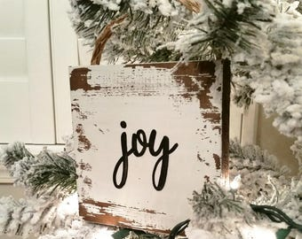 Farmhouse Joy Christmas Ornament, Christmas Joy Ornament, Rustic Christmas Joy Sign, Chippy Christmas Joy Sign