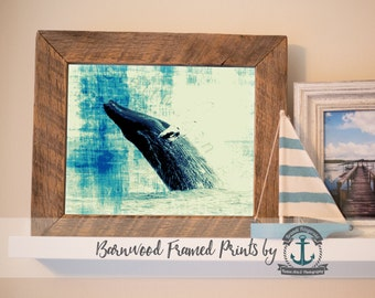 Humpback Whale Teal - Reclaimed Barnwood Framed Print - Ready to Hang - Sizes at Dropdown