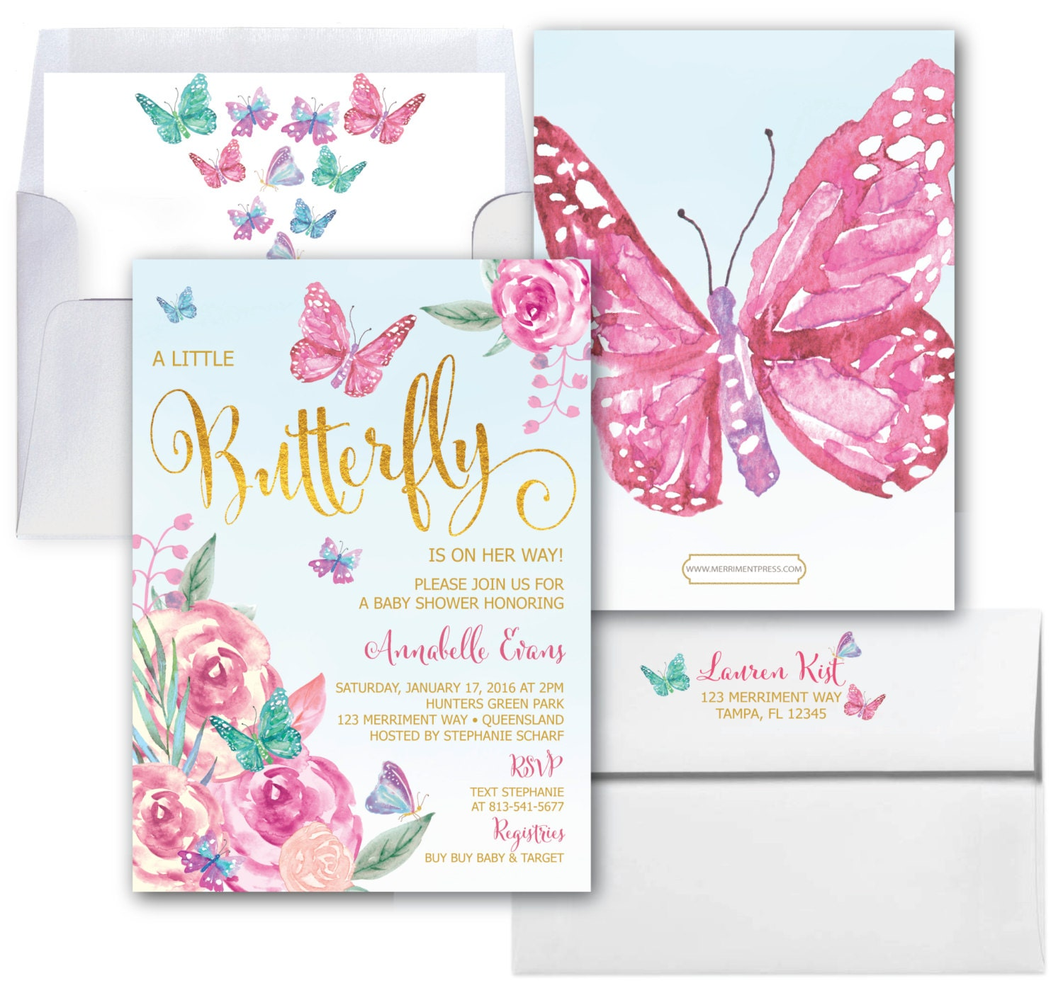 Butterfly Baby Shower Invitations // Butterflies Invitation // Baby ...