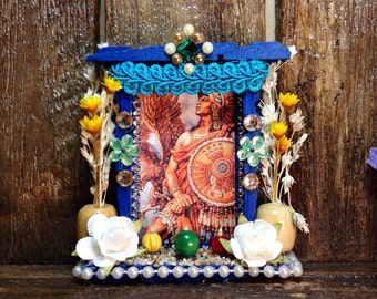 Mexican Shrine Ornament / Aztec Warrior Nicho / Miniature Wooden Altar / Handmade Retablo Decor / Folk Art