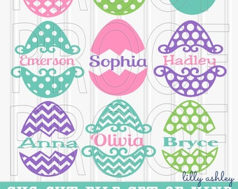 Monogram SVG Frames Set of 9 cutting files SVG/PNG/jpg Commercial use Easter svg eggs for monograms/names {colors/names not included}