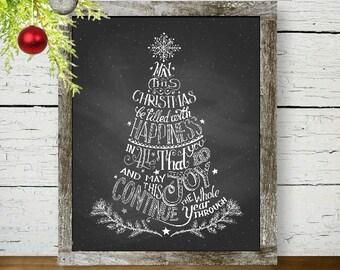 Christmas Tree Calligraphy - Chalkboard Art, Christmas Print, Christmas Tree, Calligraphy Art, Holidays, Christmas Gift, Black and White