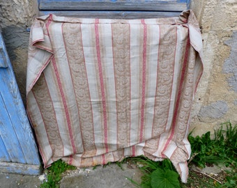 Vintage Antique 1900s  French striped mattress ticking cotton fabric toile à matelas