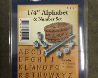 "Alphabet and Number Stamp Set 1/4"" for Leather"