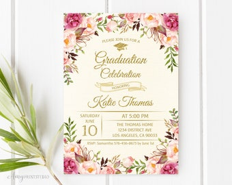Graduation Invitation, Graduation Party Invite, Floral Ivory Graduation Invitation, PERSONALIZED, Digital file, #G05