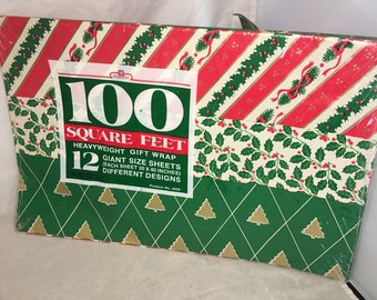 "Vintage new old stock Christmas heavyweight Gift Wrap wrapping paper 100 sq feet papercraft 12 Giant size sheets 30"" x 40"""