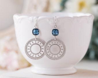 Silver Filigree Sapphire Navy Blue Earrings Silver Hoop Circle Dangle Earrings Boho Chic Navy Blue Wedding Jewelry Bridesmaid Earrings
